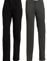 Lee Jeans Womens Relaxed Fit Flat Front Straight Leg Pant Black & Charcoal NEW