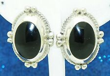 ONYX SOLITAIRE BEAD TWIST DESIGN POST EARRINGS SOLID .925 STERLING SILVER 21.2 g