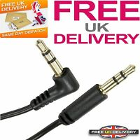 1m Meter Stereo Right Angled Male Jack to Straight Male Jack Cable 3.5mm - Black