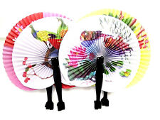 4 PCs Chinese Paper Folding Hand Fan Oriental Floral Party Wedding Favors Gifts