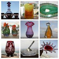 Vintage Murano Bohemia Hand Blown Crystal Glass Bowl Vase Decanter Ashtray Decor