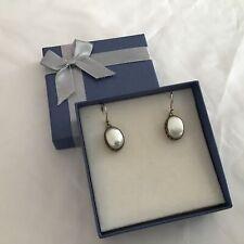 Sterling Silver 925 Mother Of Pearl Dangle Drop Earrings Hook Fastening #129