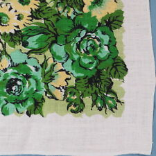 "Vintage Floral Linen Tablecloth Never Used Bold Print Green Blue Yellow 69""x52"""