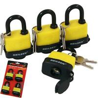 Neilsen 4pc Waterproof 40mm Steel Shackle Outdoor Security Padlock & Keys Alike