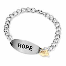 HOPE I.D. BRACELET STAINLESS STEEL W/ION GOLD DOVE BIRD OF PEACE MESSAGE JEWELRY