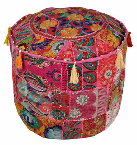 Vintage Round Ottoman Cover Embroidered Round Pouffe Footstool Bean Bag Bohemian