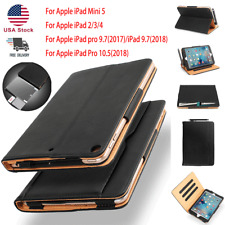 """Leather Stand Smart Cover Sleep Wake Wallet Case for iPad 6 9.7"""" 3 4 Pro mini 5"""