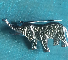VINTAGE 1950s BABY ELEPHANT BROOCH, SILVER TONE, STUDDED WITH MARCASITES