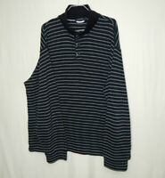 Nautica Mens 100% Cotton Pullover Knit Sweater Black Striped Size EXTRA LARGE XL