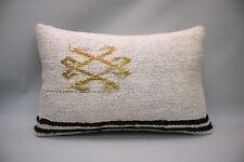 "Hemp Lumbar Pillow, 16""x24"", White Decorative Pillow, Handmade Vintage Pillow"