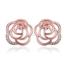 18K Rose Gold Filled See-through Rose Flower Crystal 14mm Stud Post Earring A400