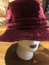 Vintage Antique Burgundy Velvet Art Deco Cloche Hat