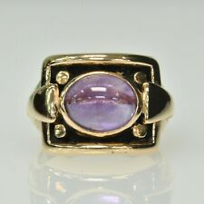 Vintage Ladies 14k Yellow Gold Cabochon Amethyst Solitaire Cocktail Estate Ring