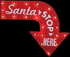 New 2-FT Lighted Metal SANTA STOP HERE Vintage Sign Christmas Holiday Decoration