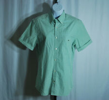 Lacoste Green Gingham Short Sleeve Button Front Blouse Women's Sz 38 US 6