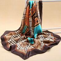Women Scarf Silk Luxury Satin Large Square Horse Shawls Wrap Head Neck Scarves