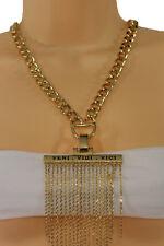 New Women Fashion Gold Metal Fringes Chain Necklace Veni Vidi Vici Big Pendant