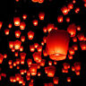 Red Flying Chinese Sky Lanterns Lantern Eco Friendly Soar 1 Mile on Fuel Cell