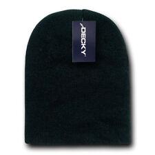 Black SHORT BEANIE HAT Knit Winter Cap ski snowboard watch skull skully