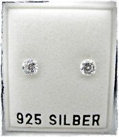 NEU 925 Silber OHRSTECKER 4mm ZIRKONIA STEINE kristallklar/crystal OHRRINGE
