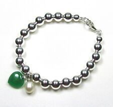 Sterling Silver Bead (6mm) Bracelet with Pearl and Jade Heart 7""
