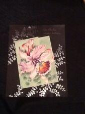 REGAL PLASTICE BIRTHDAY GREETING CARD VINTAGE ORCHID FERNS