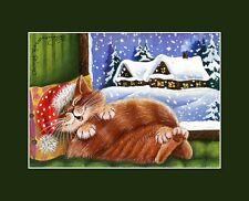 Gato De Navidad ACEO impresión relajarse después de Cristmas Por Irina garmashova