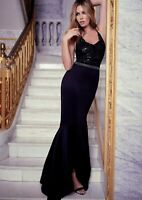 BNWT ABBEY CLANCY X LIPSY black sequin beaded maxi ball gown dress size 8 eu 36