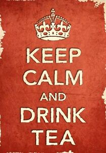 ACR31 Vintage Style Red Keep Calm And Drink Tea Funny Art Poster Print A2/A3/A4