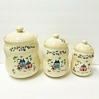 Vintage International China Heartland Farm Scene Stoneware  Canisters Set of 3