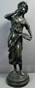 LG Vintage BRONZE SCULPTURE Young Girl LADY & TAMBOURINE Old PARLOR Size STATUE
