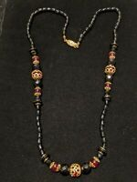 Vintage Estate Gold Tone Black Red Faceted Bead Graduated Necklace