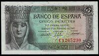 Billete de España 5 pesetas 1943  Isabel la Catolica C1265230 13 de febrero