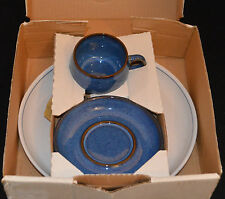 DENBY RAMS HEAD STONEWARE 3 PIECE PLACE SETTING ENGLISH BLUE PATTERN
