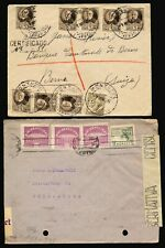 SPAIN 1945, 2 COVERS ONE REGISTERED & CENSORED TO SWITZERLAND.  #B438