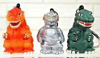 RARE & VINTAGE 3 KAIJU GODZILLA FIGURE KEYCHAIN KEY RING KEY HOLDER BANPRESTO