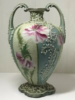 Antique Japanese Meiji Period Moriage Hand Painted Nippon Porcelain Vase Signed
