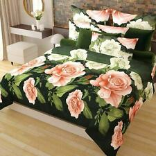 Elegant Floral Pattern 3-D Reactive Print Double Bed Sheets With 2 Pillowcase
