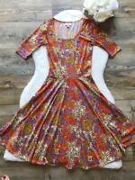 LuLaRoe Nicole -Sz XS- Women's Multi color Dress Stretch Floral Print Scoop Neck