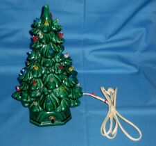 "Vintage 1970's Ceramic Mold 12"" Mini Light Up Christmas Tree Lamp Decoration!"