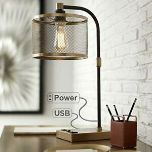 Brody Vintage Farmhouse Industrial Desk Lamp with USB and AC Power Outlet in Bas