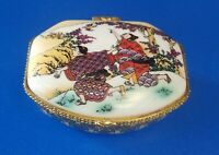 Vintage Asian Nature Theme Ceramic Jewelry Trinket Box with Butterly Clasp