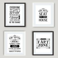 Funny Bathroom Wall Art Poster Black and White Bathroom Prints Toilet Pictures
