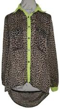 PAPAYA Black Brown Neon Green Cheetah Print Sheer Button-Up Open Back Blouse S