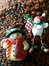 2 Snowman Christmas pin Brooch Holiday Festive