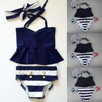 Kids Baby Girls Bikini Set Tankini Swimwear Swimsuit Bathing Suit Beachwear 1-6Y