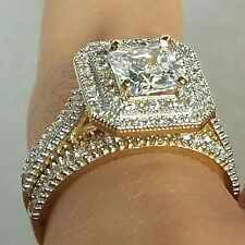 2.35 Ct 14k yellow Gold Halo Princess created diamond Engagement ring band 2 set