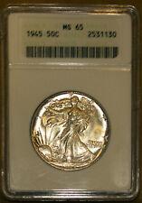 1945 50C Silver Walking Liberty Half-dollar MS 65 ANACS 2531130 + Bonus