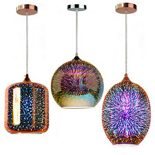 3D Oval Ceiling Pendant Light Colored Oberon Holographic Glass Copper / Chrome