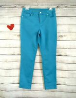 Chico's So Slimming Girlfriend Stretchy Pants Turquoise Blue Size 00 NWOT